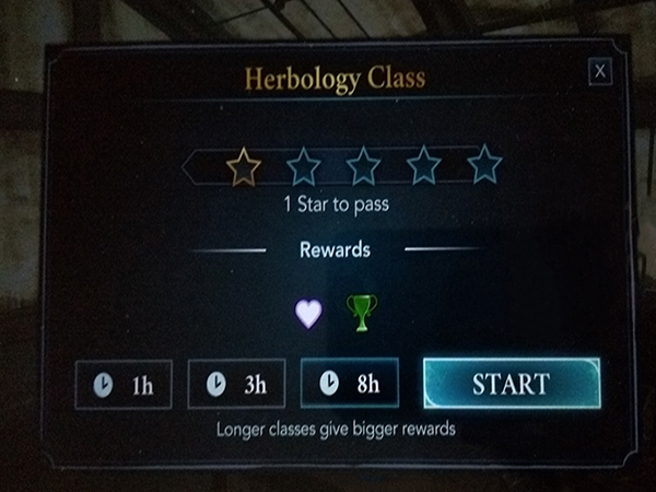 screenshot of hogwarts mystery class duration