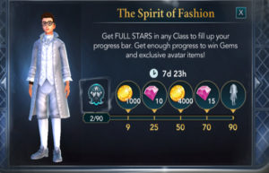 Male version of the spirit of fashion Hogwarts Mystery Event
