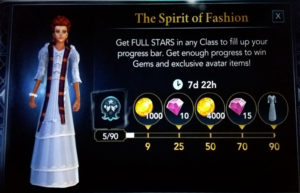 screenshot of the spirit of fashion event in hogwarts mystery