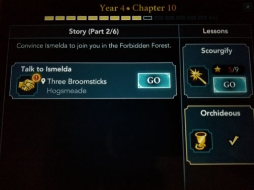 Screenshot of Hogwarts Mystery year 4 chapter 10 quests