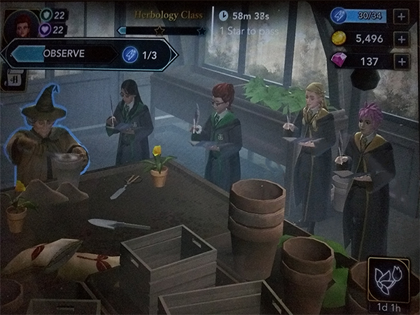 screenshot of hogwarts mystery class activities