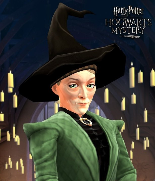Picture of Professor McGonagall from Hogwarts Mystery for our Transfiguration class guide.