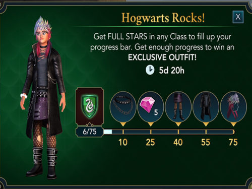 Screenshot of the Hogwarts Rocks! event in Hogwarts Mystery