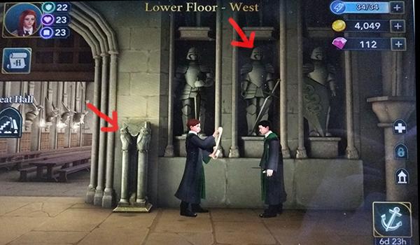 Lower Floor West free energy locations in Hogwarts Mystery