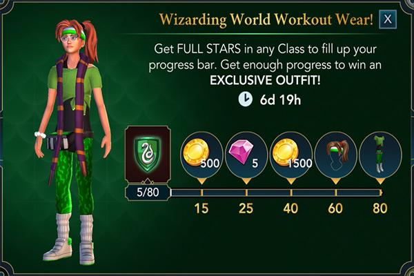 hogwarts mystery wizarding world workout wear event rewards