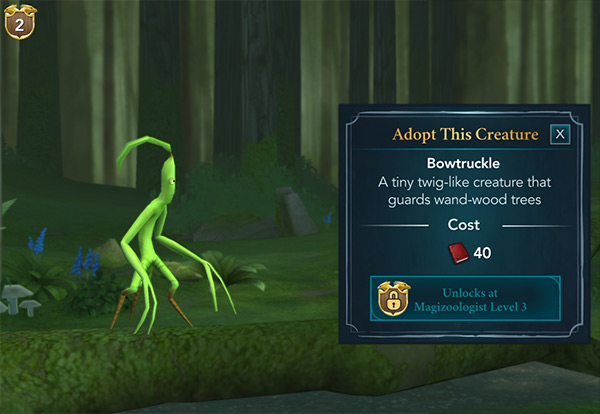 bowtruckle for adoption within the magical creatures reserve forest