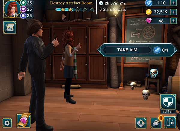 destroy artefact room in hogwarts mystery with the weird sisters