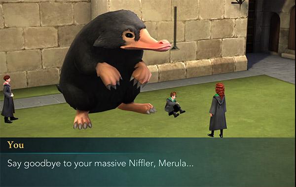 shrink merula's niffler before it destroys hogwarts