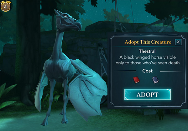 adopt a thestral in hogwarts mystery