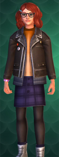 blue plaid skirt with stockings in hogwarts mystery