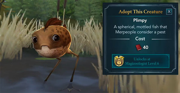 adopt plimpy at the magical creature reserve