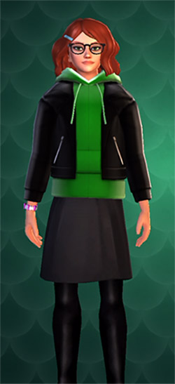 green pullover sweater with black jacket in hogwarts mystery
