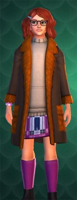 Dark brown coat with orange fur lining