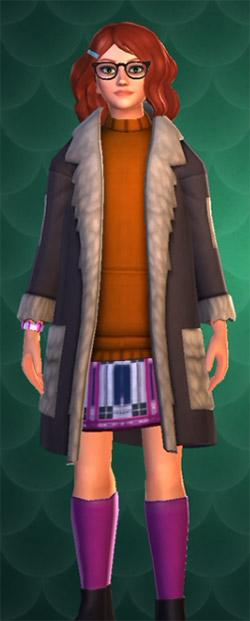 hogwarts mystery dark gray coat with orange sweater
