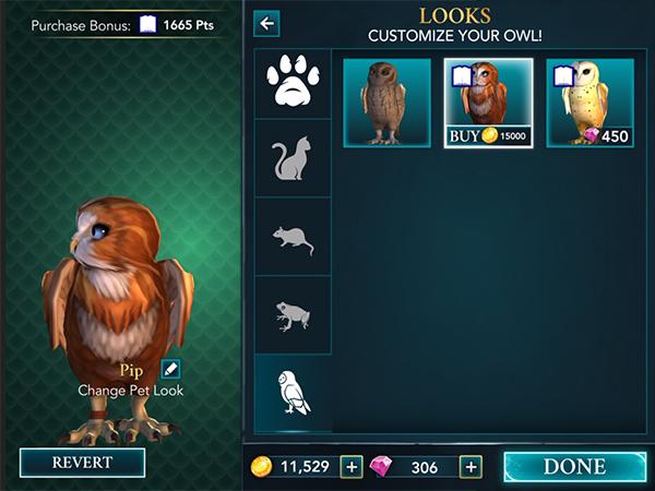 screenshot of the brown owl skin in hogwarts mystery